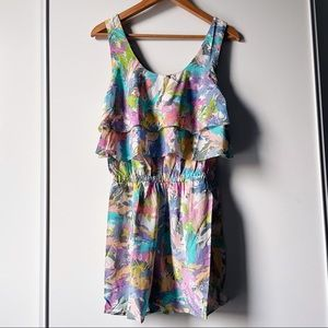 R. 89 feather shortie silk romper with ruffles